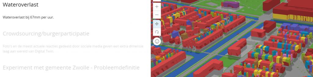 iernaast is een woonwijk in de gemeente Zwolle (Stadhagen) in 3D gemodelleerd waarbij de individuele woningen op basis van kenmerken van een kleurcode zijn voorzien. (bron: Digital twin Zwolle i.s.m. Kadaster/ESRI)